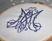 Auspice Mariae, Embroidery Hoop Art, 5 inch, Blue