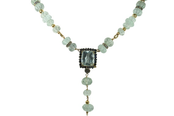 288cts Aquamarine, Sapphire Bead & Gold Necklace 14k