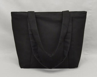Black Zippered Tote Bag, Fabric Purse with Pockets, Canvas Liner, Plain No Print