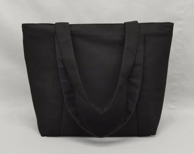 Plain Black Zippered Tote Bag with Pockets