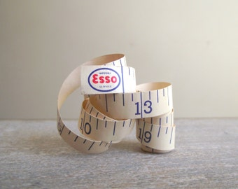 Vintage Esso Tape Measure | Paper Measuring Tape | Advertising Tape Measure | Tailor Seamstress Tape | Vintage Sewing Supplies