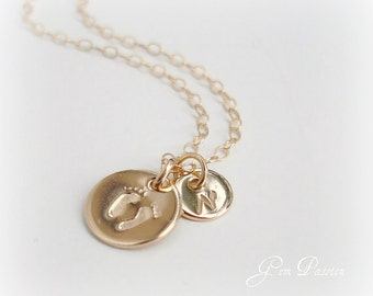Baby Feet Necklace, 14K Gold Filled Disc, Personalized Initial, Small, Mothers Day, New Baby, New Mommy Monogram or Sterling Silver Handmade