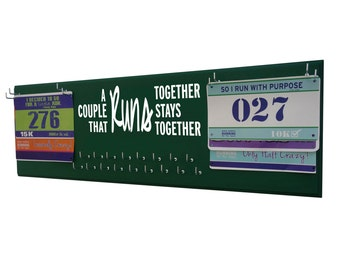 Medals display rack,  Couple that runs together stays together, gifts for runners, 5K, 10K, half and full marathon race bib holder