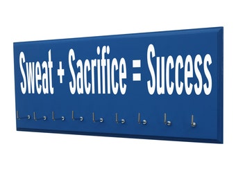 Inspirational quotes for medals hanger, sweat and sacrifice equals success gifts for man running