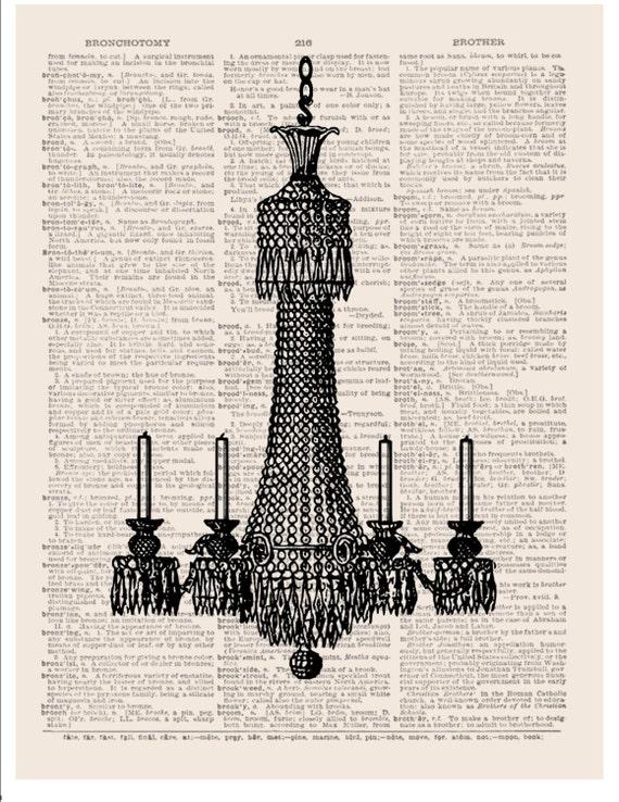 Antique crystal chandelier wall art digital print on music or