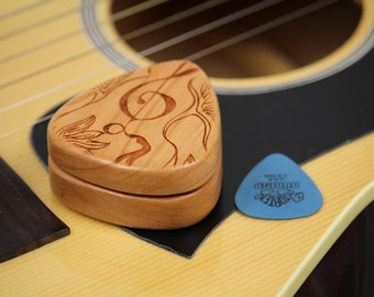 "Guitar Pick Box, 2-1/4"" x 2"" x 3/4 D"", Pattern G34 slender, Solid Cherrywood, Laser Engraved, Paul Szewc"