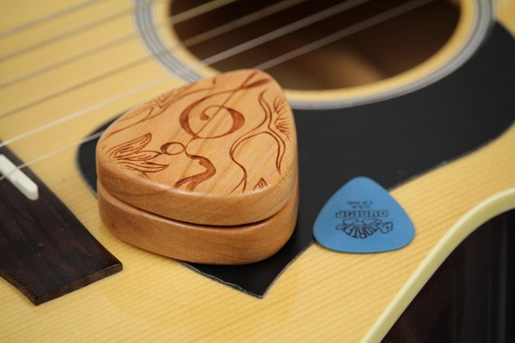 "Guitar Pick Box, 2-1/4"" x 2"" x 3/4 D"", Pattern G34 slender, Solid Cherrywood, Laser Engraved, Paul Szewc"