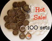 100sets 12mm Round Cameo Setting with Clear Glass Cabochons Antiqued Bronze B1010