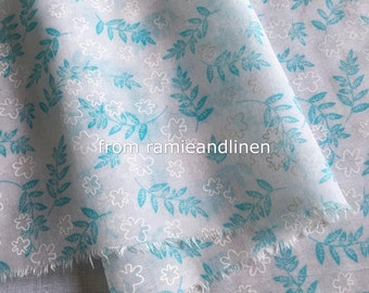 "silk fabric, blue leaves print Silk cotton blend fabric, half yard by 53"" wide"