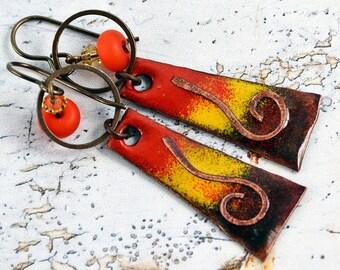 Lampwork and Enameled Copper Wire-Wrapped Rustic, Bohemian, Earthy Earrings