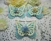 Light Blue and Ivory Paper Butterflies, Paper Embellishments for Scrapbooking Cards Mini Albums Tags Altered Projects and Paper Crafts
