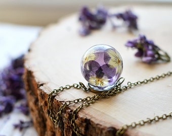 Real flower necklace pansy viola resin jewelry - pressed flower jewelry, terrarium jewelry, romantic jewelry