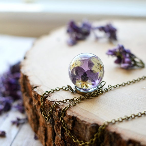 Real Flower Necklace Pansy Viola Resin Jewelry Pressed