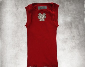 Tank rhinestone bow/red top/Sleeveless knit tee