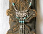 bohemian necklace tassel necklace gemstone necklace boho necklace gypsy necklace bohemian necklace  turquoise necklace boho jewelry