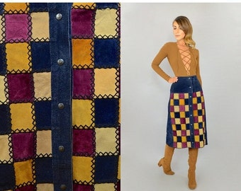 ANNIVERSARY SALE 70's Leather PATCHWORK Skirt