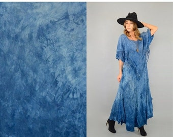 ANNIVERSARY SALE 80's Tie-Dye Bohemian Fringe Maxi Dress