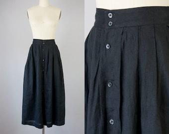 "1980s Vintage Calvin Klein Black Linen Pleated Button Down Long Skirt (M; 28"" Waist)"