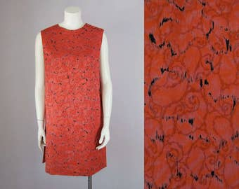60s Vintage Red & Black Silk Brocade Tunic Top Dress (M, L)