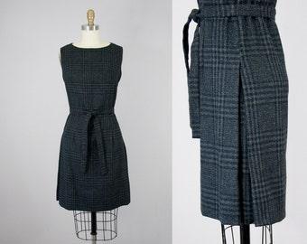 60s Vintage Charcoal Wool Plaid Side Pleats Dress. 60s Sleeveless Belted Dress (M)