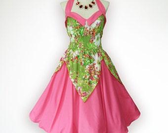 Bunny Pastel 50s Pin up Rockabilly Swing Dress Full Swing Skirt Plus Size 18 20 22