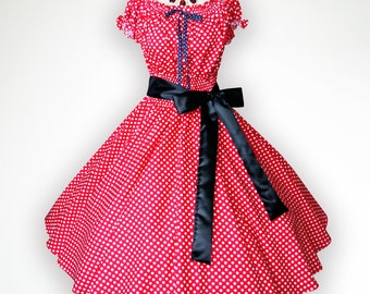 Vintage Red N White Polka Dot 50s Pin up Rockabilly Swing Dress Full Swing Skirt Plus Size 24 26 28