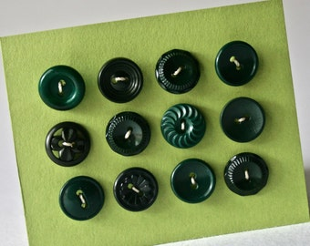 Dozen Vintage Dark Green Buttons in Assorted Patterns for Sewing and Crafts