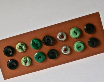 Vintage Green Button Pairs for Sewing and Crafting