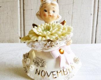 Vintage Lefton November Birthday Angel - Topaz Birthstone - Mums - Made in Japan - Mid-Century 1950s