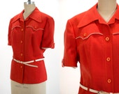 Vintage 1960's Mod Cherry Red Linen Cropped Short Sleeve Button Up Blazer Western with White Belt Women's Size Large by Del Mod