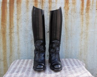 Vintage Dehner's Equestrain Riding Boots Tall Black Leather Hand Crafted Made in Omaha Nebraska Preppy Fall Winter Riding Boots Women's 10