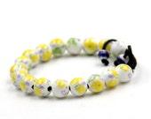 10mm Design Flower Leaf Chinese Porcelain Prayer Beads Wrist Mala Bracelet  T3311
