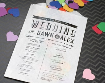Modern Wedding Program - Confetti or Flower Toss Bag - Printed Bags
