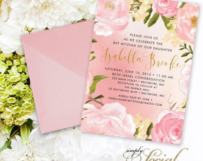 Floral Bat Mitzvah Invitation - Peony Calligraphy Personalized Custom Flowers Pink Botanical Printable B'Nai Mitzvah Party Invite