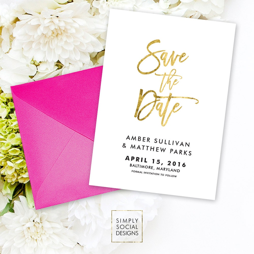 Save the Date Invitation - Black and White Faux Gold Foil Foil ...