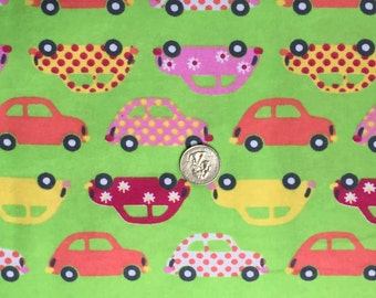FABRIC-VW Car Fabric-100% Flannel-Volkswagen Bug-Sold by The Yard-Herbie-Love Bug-Punch Bug-Buggy Cars-VW Beetles-Lime Green Background