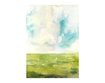 """Clouds Above: Original Landscape Watercolor Painting 2.5 x 3.5"""""""