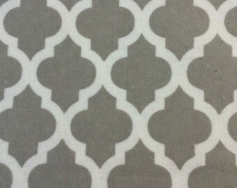 Grey and white Lattice -  FLANNEL - Fabric BTY