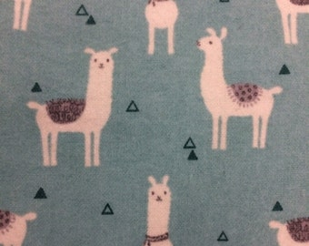 Llamas Teal - FLANNEL - 33 inches