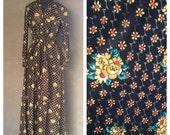 40% OFF Vintage 1970s Black Floral Metallic Long Sleeve Maxi Shirt Dress M/L (b)