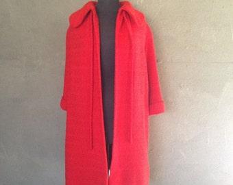 60% OFF Vintage 1950s Robert Knox Ben Gershel Red Waffle Knit Overcoat Jacket M (j)