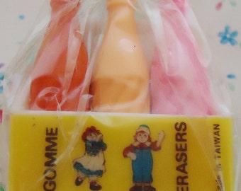 Six Kawaii Little Erasers Bottles.1989