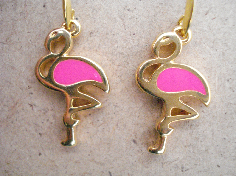 pink flamingo earrings gold flamingo dangles tropical