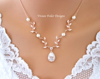 Wedding Necklace Y Bridal VINE Necklace Rose Gold Jewelry White or Ivory PEARLS Cubic Zirconia