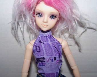 Pullip clothes - light purple with geometric design halter top