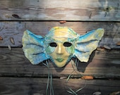 gold teal aqua blue pearls ocean, sea life, paper mache Mermaid Halloween mask, Costume, Wearable art, handmade ooak, hand beaded