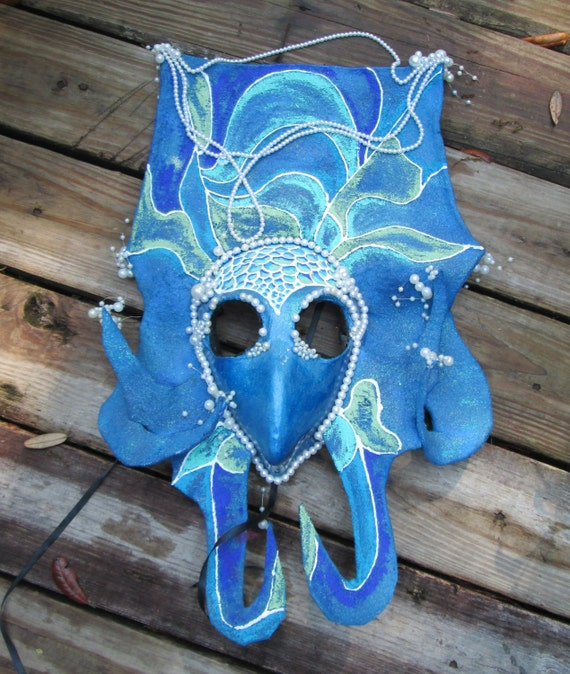 One of a kind mask, Blue mask, hand Sculpted, Mermaid Mask, paper mache clay, Halloween mask, Costume Mask, Masquerade mask, OOAK,