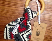 SALE 30% OFF. Red and Grey Aztec Teether for Baby. Wood Teething Ring. Gender Neutral Baby Gift.