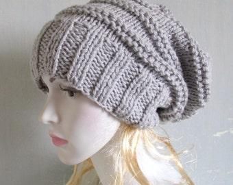 Chunky Slouchy Women Hat Beanie, Knit Beret, Oversized Hat, Wool Beret Slouchy Beanie Women Knit Hat Hand Knit Hat Dreadlock Hat