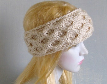 Ivory Bohemian Knitted Headband Boho  Ear Warmer Free Spirited Hippie Headband Hair Accessories Hair Bands Photo Prop Boho Headband Women